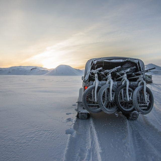 salsa bikes on raceface mat in snow covered glacier in iceland