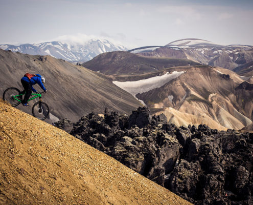 mountain biking down a volcano