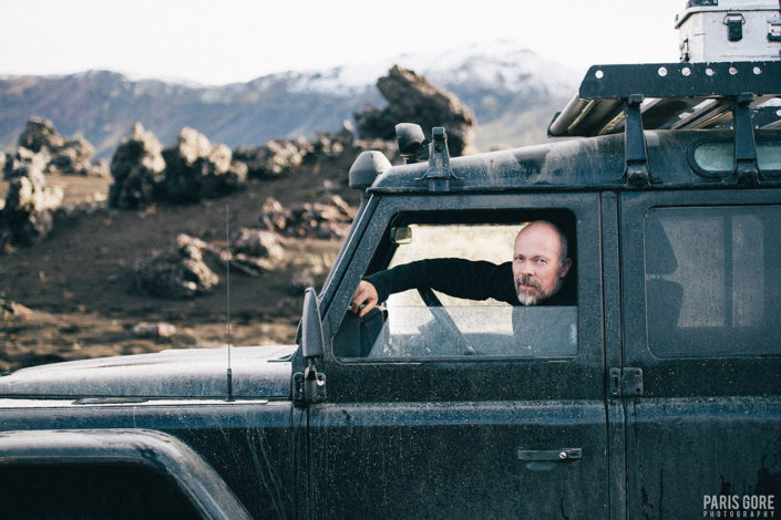magne Kvam in his Landrover defender in iceland