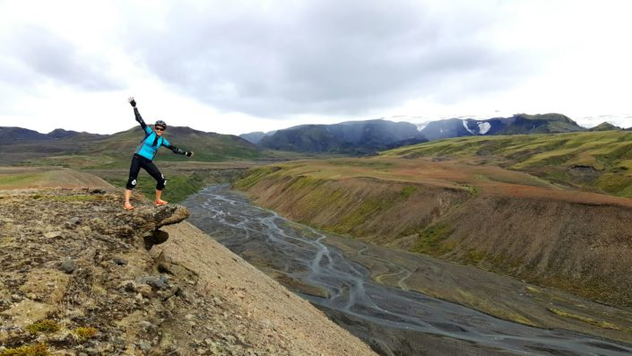 girl mountain biking in Iceland